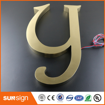3D Metal Letters Sign Brushed Stainless Steel Alphabet Letters Outdoor Signage