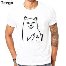 ab6b26c78163 Harajuku Style Middle Finger Pocket Cat T Shirt Funny Graphic Print Tee  Shirts Go Away Short