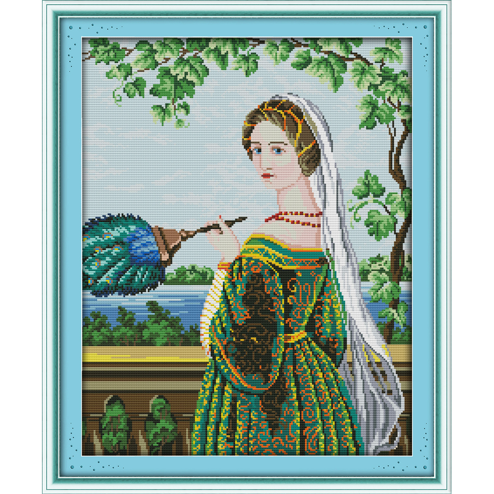 Joy Sunday Green skirt woman Chinese cross stitch kits Ecological cotton clear printed 14CT 11CT DIY wedding decoration for home in Package from Home Garden