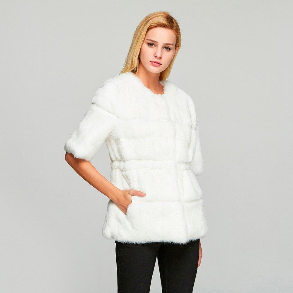 ขนสัตว์ Story 18110 ผู้หญิงจริงกระต่ายเสื้อขนสัตว์ฤดูหนาวแฟชั่นอบอุ่นเสื้อลำลอง O   Neck ครึ่งแขน-ใน ขนสัตว์จริง จาก เสื้อผ้าสตรี บน   3