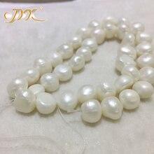 44cb38a6ef92 JYX barroca floja joyería al por mayor 8-11mm blanco de agua dulce de perlas  cadena 15
