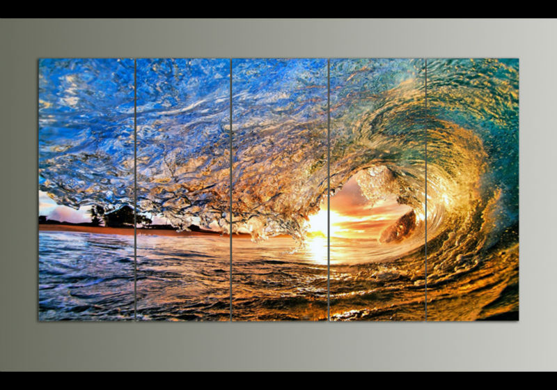 framed art 5 panel sunset on the beach with screw ocean wave wall painting printed on
