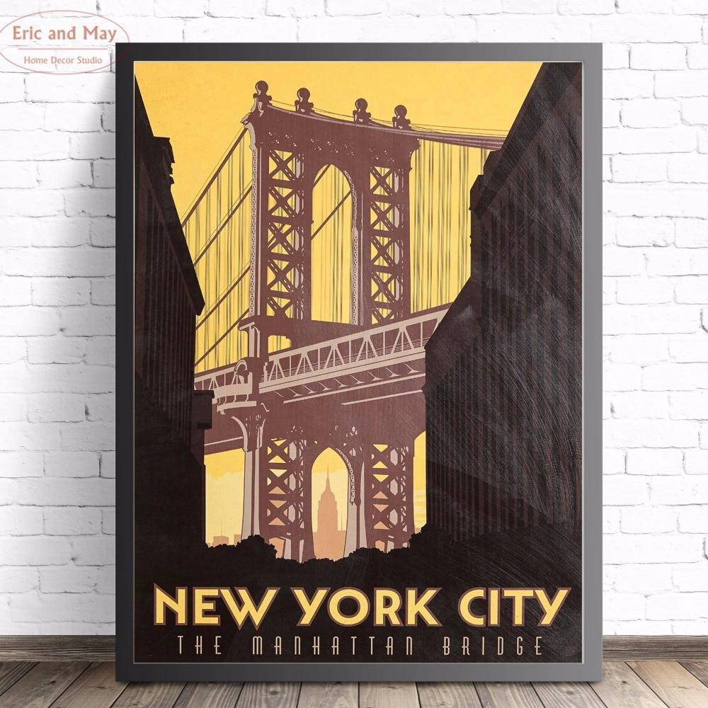 Винтажный парусиновый постер с принтом, Нью-Йорк, Бруклинский мост, настенные фотографии для гостиной, украшения стен, домашний декор