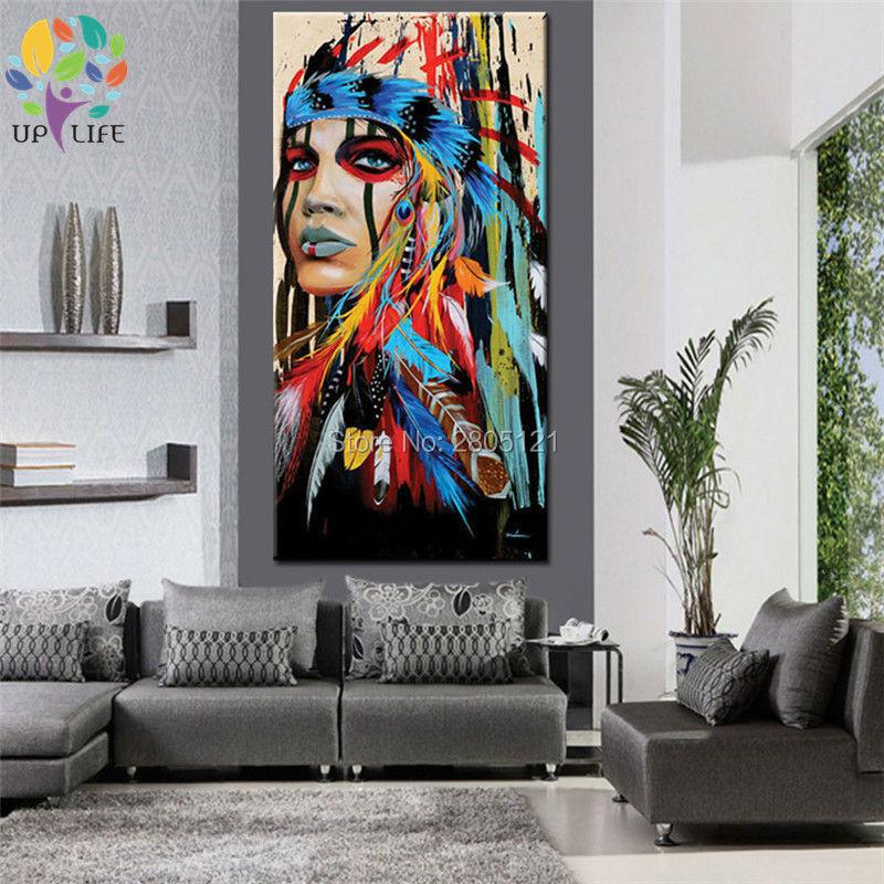 100% pictură în ulei american nativ american idian pictură în - Decoratiune interioara - Fotografie 4