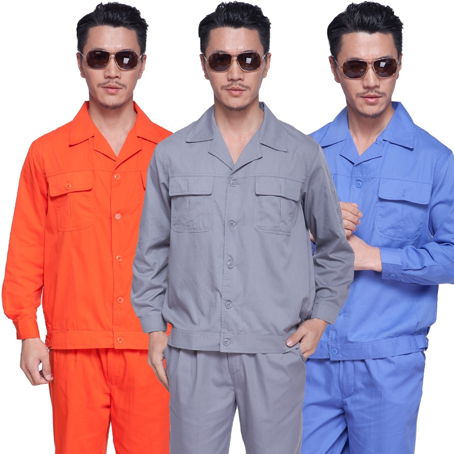 10 Set Long-sleeve Work Wear Set Summer Thin 100% Cotton Work Clothes Protective Clothing Worker Uniforms Motor Repair Full Sets