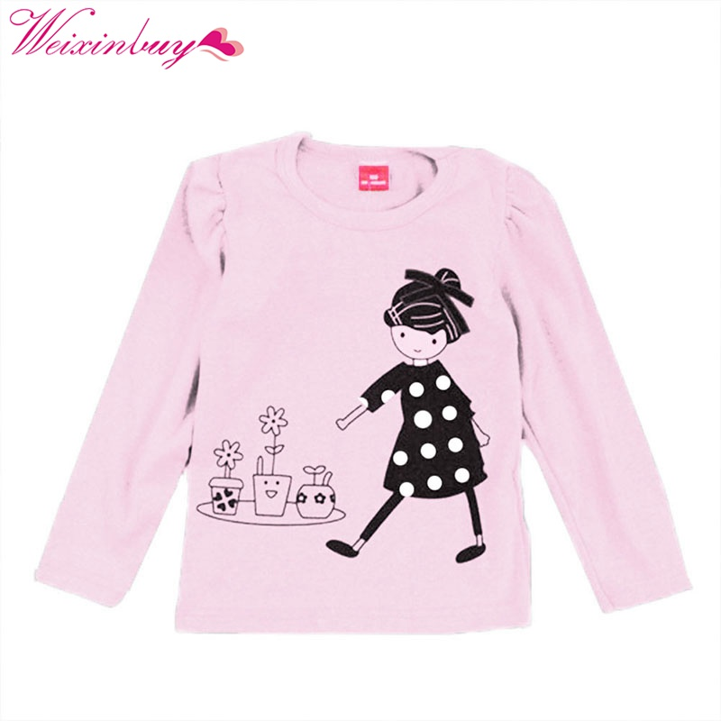 Lovely Cozy Baby Girl Tops Shirt Kids Child Toddler Soft Cotton Fall T-Shirt Tee 2-7 Y 2017