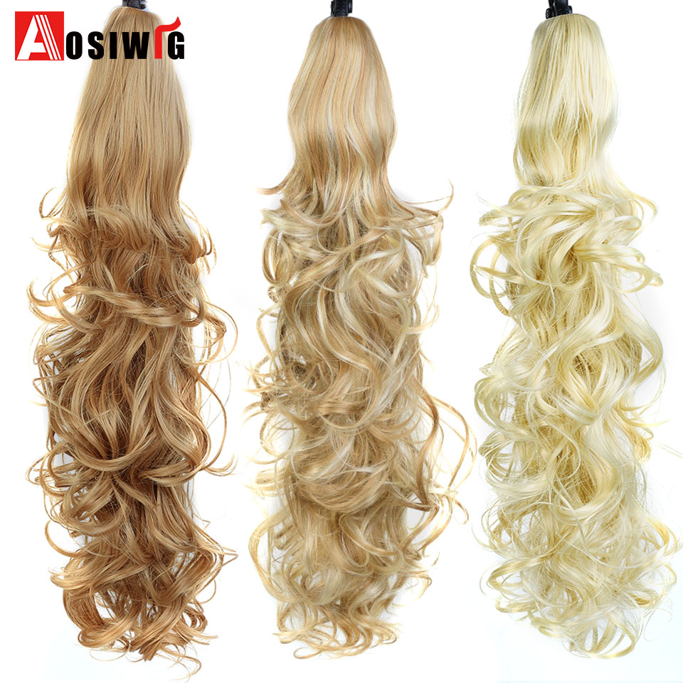 Hot Sale Aosi Wig 24 Long Curly Ponytail Claw Drawstring Ponytail