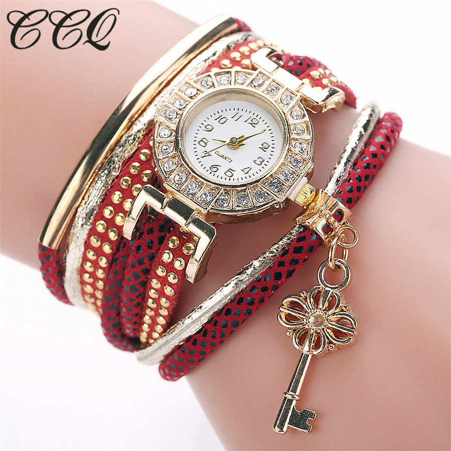 CCQ Brand Fashion Luxury Gold Key Pendant Braided Bracelet Wristwatch Women Dress Casual Gold Rhinestone Case Quartz Watch