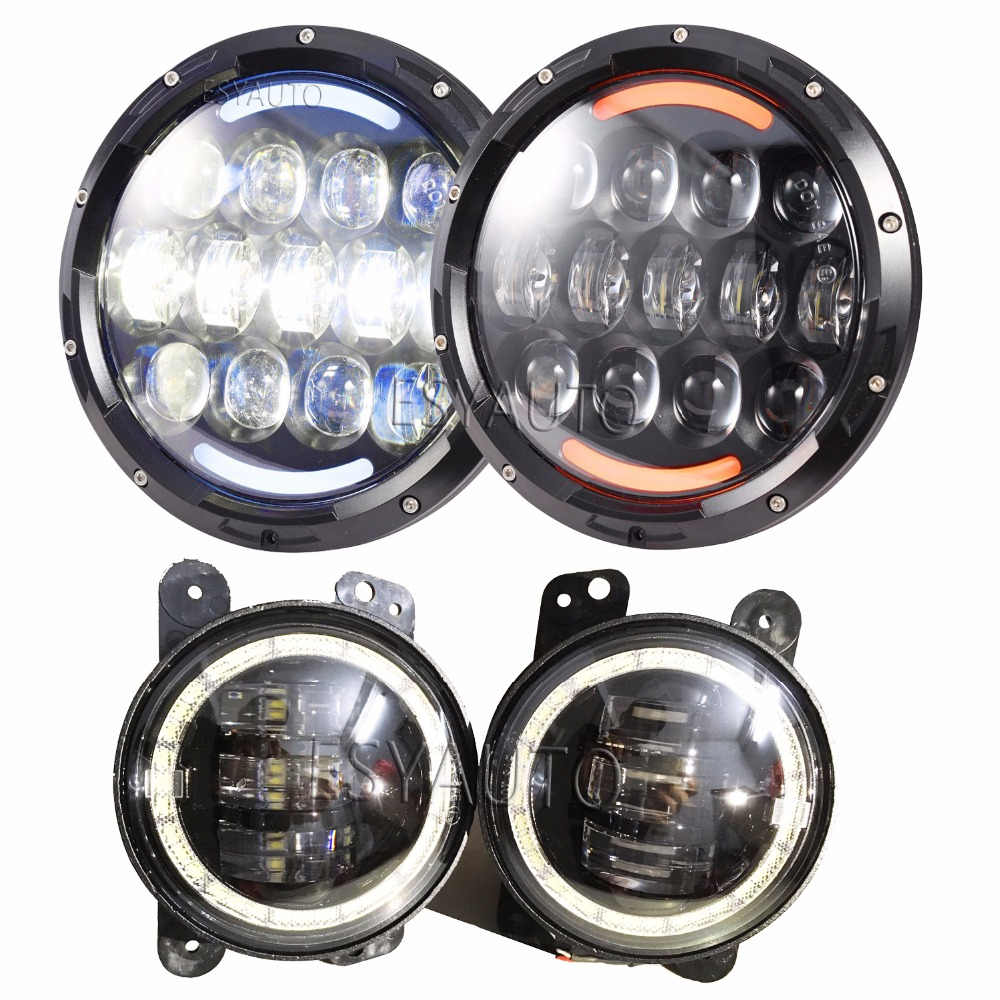 Set 7 Inch 105W LED Headlights White DRL/Amber Turn Signal Halo Ring with 4 Inch Fog Lights Red Demon Eyes 30W for Jeep Wrangler
