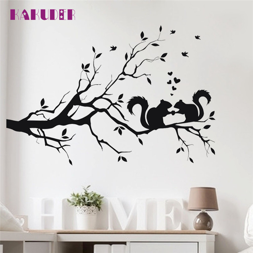 Squirrel On Long Tree Branch Wall Sticker Animals Cats Art Decal stickers for kids rooms home decor u70629