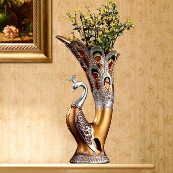 Vases Fashion creative peacock vase decoration,living room arts and crafts desk vase floor 3 color optional