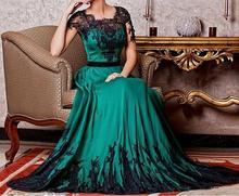vestido novia 2018 Black Lace A Line Women Evening Formal Prom Gowns Vintage Emerald Green Short Sleeves Mother Of Bride Dresses