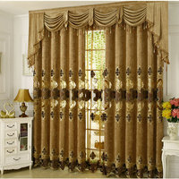 European Embroidered Palace Design Luxury Hollow Curtains For Living Roon Bedroom With Valance Beads For Home