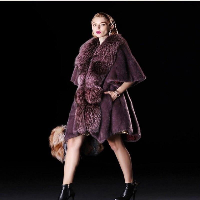 black Moda Gamuza Imitación Nueva big Abrigo Sección Las Sintética Casaco Zorro Color Plata Piel Visón De Elegante 2018 Feminino Cream Larga pink Red Mujeres SSIPw