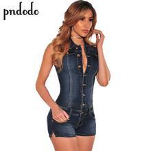 Wjustforu Fashion Women Jeans Bodysuit Sleeveless Turn Down Collar Denim Playsuits Cotton Short Jeans Rompers Womens Jumpsuit