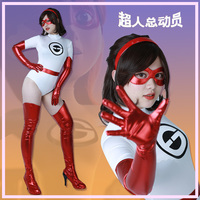 Mrs. Incredible Elastigirl Helen Parr White Jumpsuit Cosplay Costume with Eyepatch
