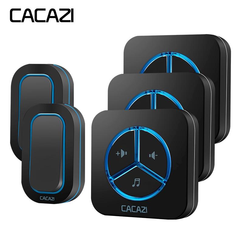 CACAZI Smart Wireless Waterproof Door Bell 280M Remoto Household Alkaline Battery 12V23A US EU UK AU Plug Battery Button цены