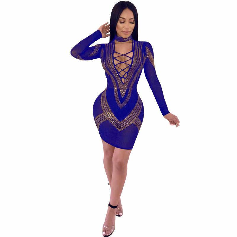 12c3dd0c5d2b ... Rhinestones Sexy Bodycon Dress for Women Deep V-neck Long Sleeve  Bandage Dress Elegant Mesh ...