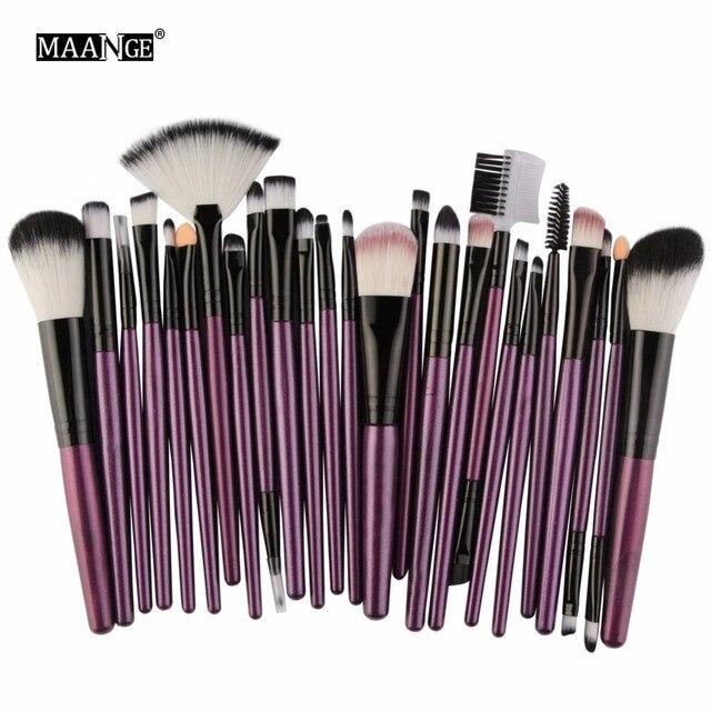 MAANGE25pcs Makeup Brushes Beauty Tool Set Foundation Blending Blush EyeShadow Brow Lash Fan Lip Face MakeUp Concealer Brush Kit 3
