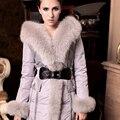Reutilização Super Grande de Pele De Raposa Com Um Capuz Luxo Raposa Para Baixo Casaco Feminino Projeto Longo de Alta Qualidade Branco Bonito Magro