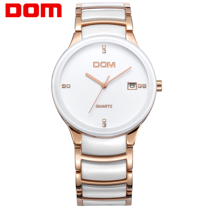 DOM men Watch Vintage ceramic diamond watchs luxury brand watches quartz casual full steel men sports watches T-729