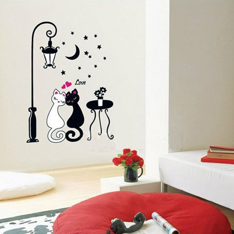 Aliexpress Com Buy Romantic Couple Cat Street Lamp Wall Sticker Lovers Bedroom Decor Wallpaper Decoration For Kids Room Floor Stairs Wall Decals From