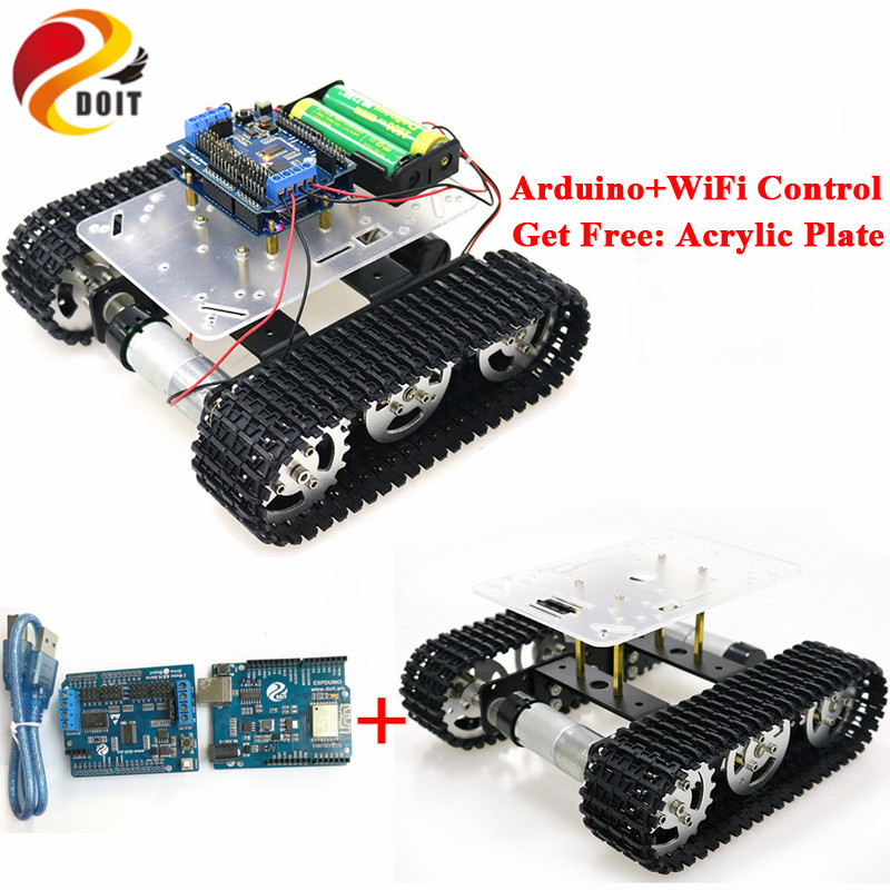 Wifi Rc Smart Roboter Tank Chassis Mit Dual Dc Motor Motor Fahrer Board Für Diy Projekt T100 Hochglanzpoliert Espduino Entwicklung Bord