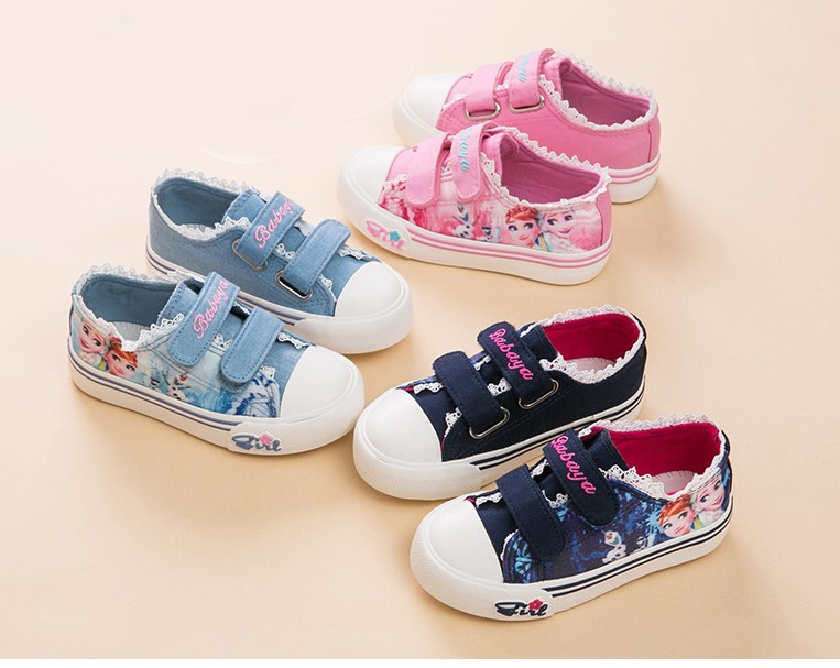 Princess Girls Shoes For Kids Fashion Elsa Anna Kids Shoes 2017 Ice Snow Queen Casual Denim Canvas Children Shoe Girl Sneakers 520 (1)