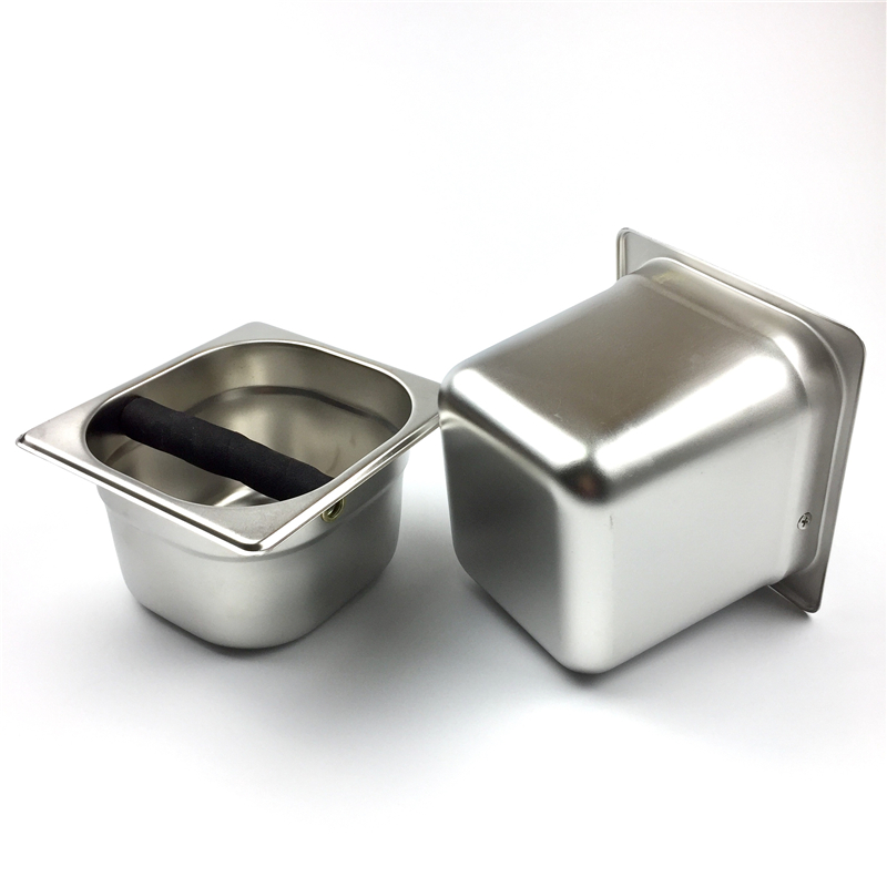 Coffee Knock Box Stainless Steel Wood Coffee Grounds Container Box Barista Coffee Residue Bucket Grind Waste Bin Knocking Bucket