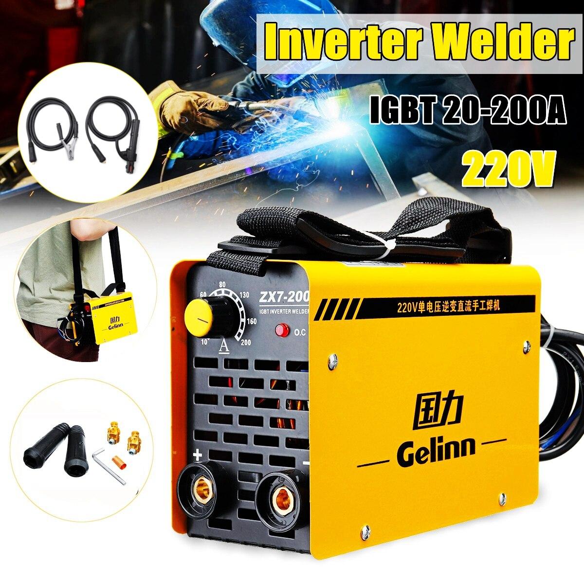 200Amp сварочный аппарат инвертор Портативный сварщиков MMA/ARC ZX7-200 IGBT DC с линии машины комплект
