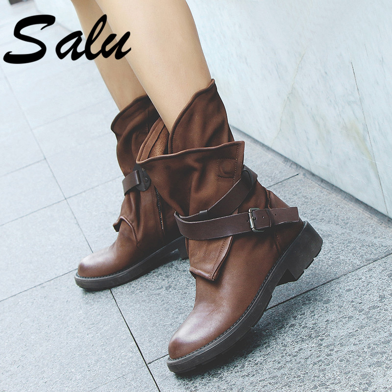 Salu 2019 Cow Leather Ankle Boots Women Metal Round Toe Buckle Square Low Heel Boots Woman Fashion Western BootsSalu 2019 Cow Leather Ankle Boots Women Metal Round Toe Buckle Square Low Heel Boots Woman Fashion Western Boots