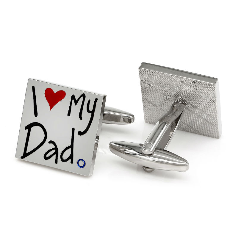 I Love My Dad Cuflinks Fathers Day Gifts Men Cuff Links Luxury