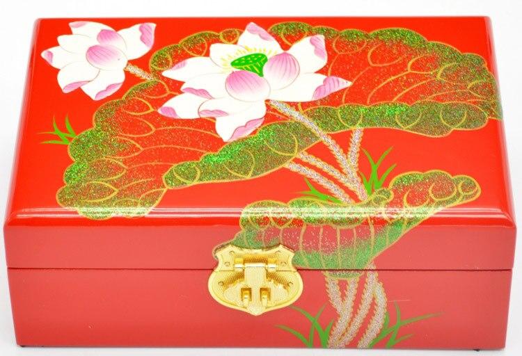 PingYao Shanxi chine main pousser laque légère laque chinoise boîte à bijoux mallette de rangement artisanat en bois traditionnel décor de mariage - 3