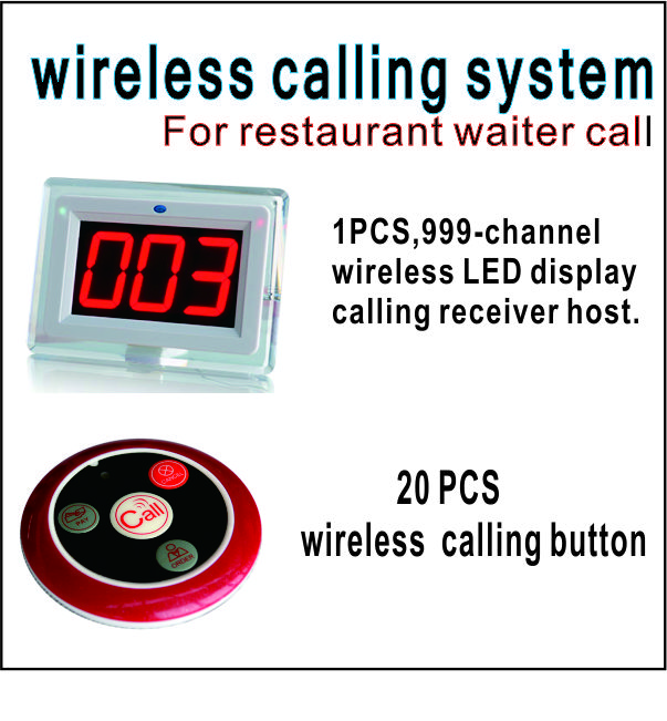 Wireless Restaurant call system restaurant equipment including 999-channel LED display receiver with 20 PCS calling  button wireless service call bell system popular in restaurant ce passed 433 92mhz full equipment watch pager 1 watch 7 call button