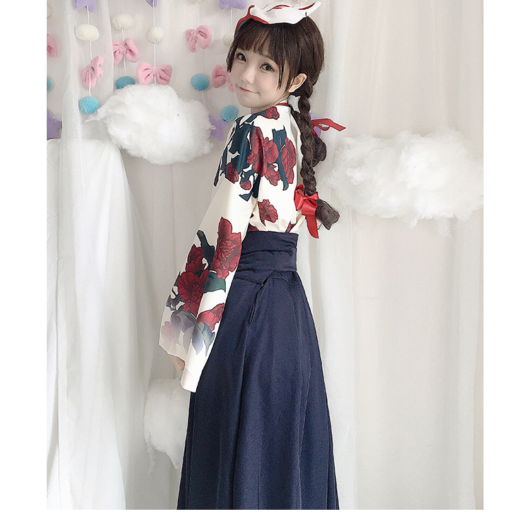 Girls Japanese Style Retro Kimono Floral Long Sleeve Woman Party Dress Summer Fashion Outfits Top Bow Skirt Haori for Female 9