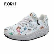 FORUDESIGNS 2018 Brand Designer Women Nursing Shoes Casual Slimming Swing Cute Nurse Print Platform Increasing