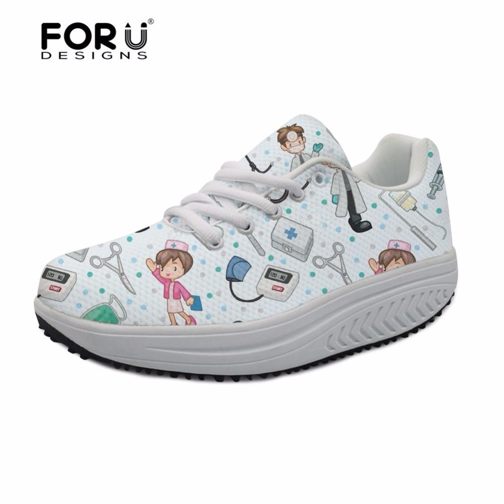 FORUDESIGNS/2018; брендовая дизайнерская женская обувь для ухода; повседневная обувь для похудения; обувь для танцев с милым принтом медсестры; женская обувь на платформе, увеличивающая рост