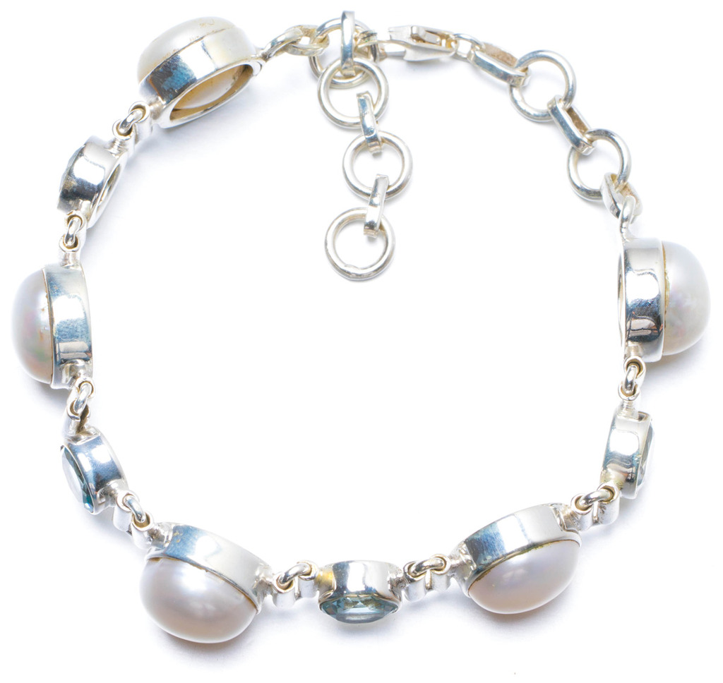 Natural River Pearl and Blue Topaz Handmade Unique 925 Sterling Silver Bracelet 7-8 Y0138 соус паста pearl river bridge hoisin sauce хойсин 260 мл