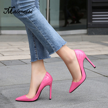 MAIERNISI Pointed Toe Women Thin Heel Shoes 11cm Heels Patent Leather Wedding Party Ladies Big Size 35-46