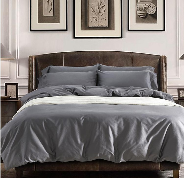 Solid Grey Egyptian Cotton Sheets Bedding Sets King Queen