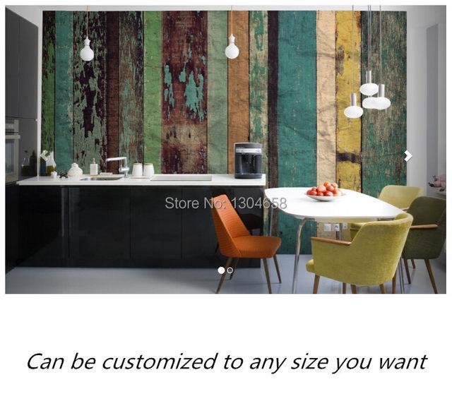 Online Shop Free shipping custom murals Worn Coloured Wood Wall