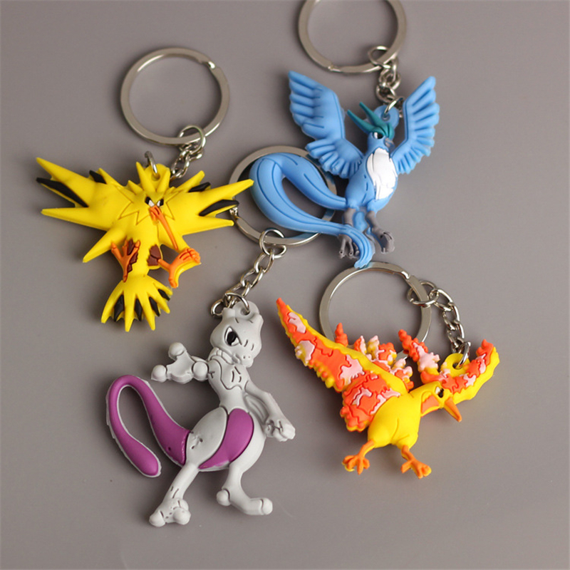 Pikachu Keychain Pocket Monsters Key Holder Pokemon Go Key Ring Pendant 3D Mini Charmander Zapdos Mewtwo Moltres Figure Toys