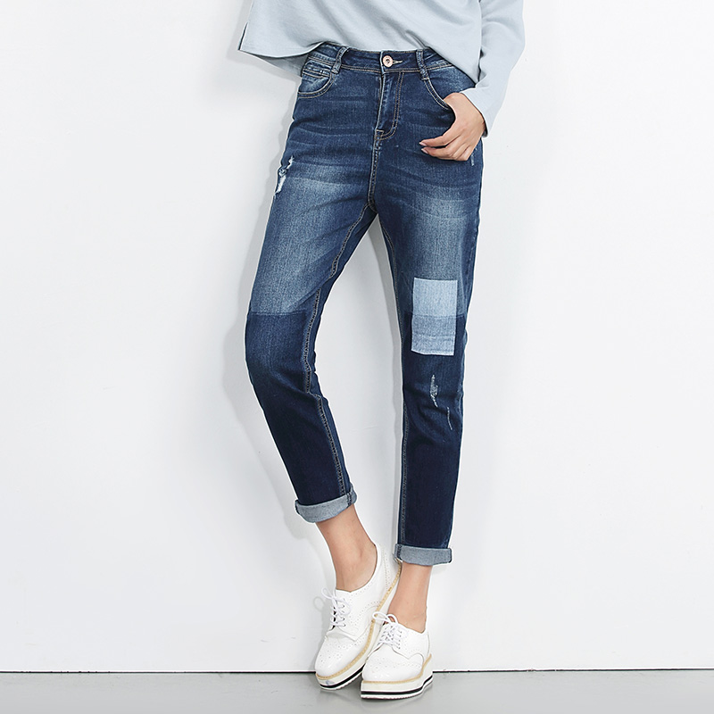 LEIJIJEANS 2017 New Arrival 40-120KG  Jeans for Woman mid waist harem demin jeans loose straight full length high quality jeans 2017 leijijeans new arrival ripped jeans woman black jeans for women mid waist low elastic hole demin jeans irregular cuff
