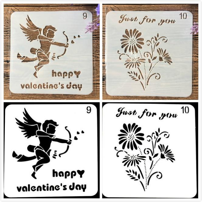 2Pcs/Lot 13cm Flower Happy Valentine DIY Craft Layering Stencils Painting Scrapbooking Stamping Embossing Album Paper Template