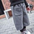 Rápida Ropa de Los Niños 2016 de Invierno de Corea Casual Algodón Lindo Breve Todo-Fósforo Del Faux de Dos Piezas de Pantalones de La Muchacha Ropa de Otoño Pantalones