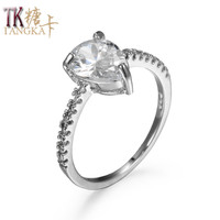 TANGKA top luxury fashion zircon ring for women's dance dress wear jewelry copper ring quality sales silver color female ring