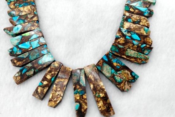 Jasper Ocean Jasper necklace beads Multicolored Impression Jasper stone tooth spikes sharp Rectangle Nekclace Gemstone Loose Bea