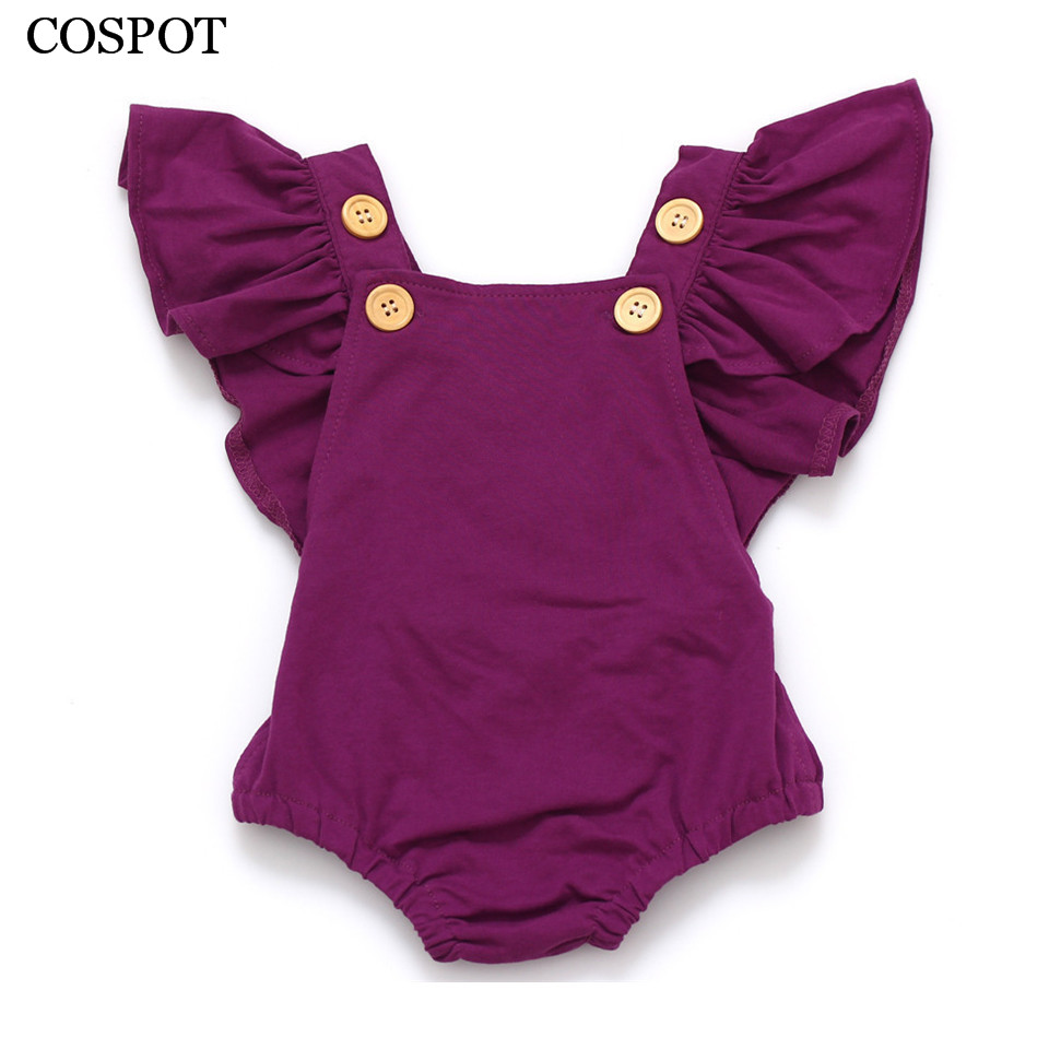 COSPOT Baby Girls Romper Newborn Infant Clothing Girls Summer Spring Cotton Ruffle Sleeve Romper Toddler Jumpsuit 0-2Yrs C32
