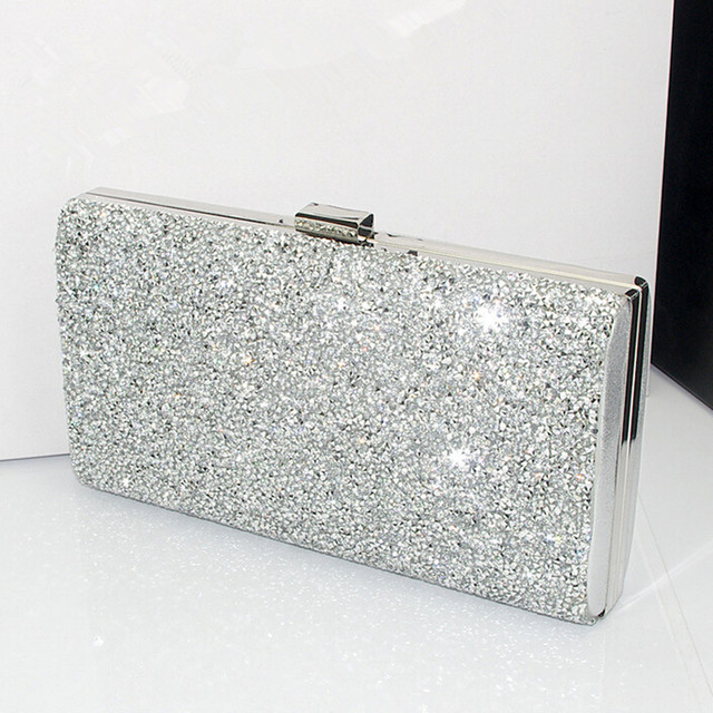 Hot Bling Evening Bag Women Handbag Shoulder Gold Silver Clutch Box Cross Body