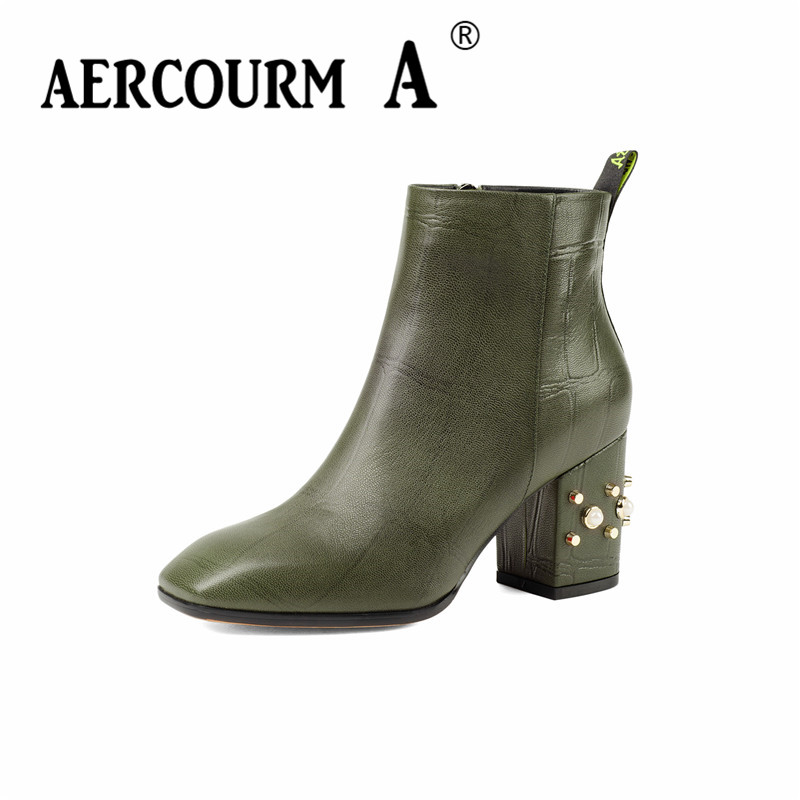 Aercourm A 2017 Women Shoes Ankle Boots Women Black Shoes High Quality Genuine Leather Boots Plush Winter Zipper Boots JM5094 bacia genuine leather boots short plush women shoes black simple style ankle boots with zipper handmade high quality shoes vd021